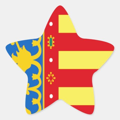 Bandera de Valencia (España) Pegatinas Forma De Estrellaes Personalizadas