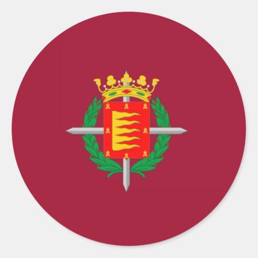 Bandera de Valladolid Pegatina Redonda
