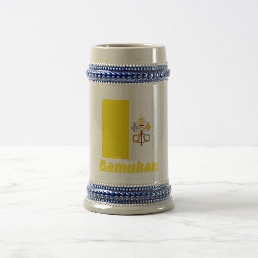 Bandera de Vatican con nombre en ruso Tazas De Café