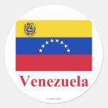 Bandera de Venezuela con nombre Pegatina Redonda
