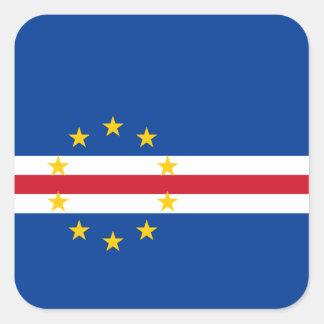 Bandera de Verdian del cabo Pegatina Cuadrada