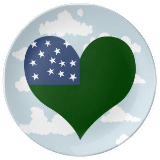 Bandera de Vermont en un fondo nublado