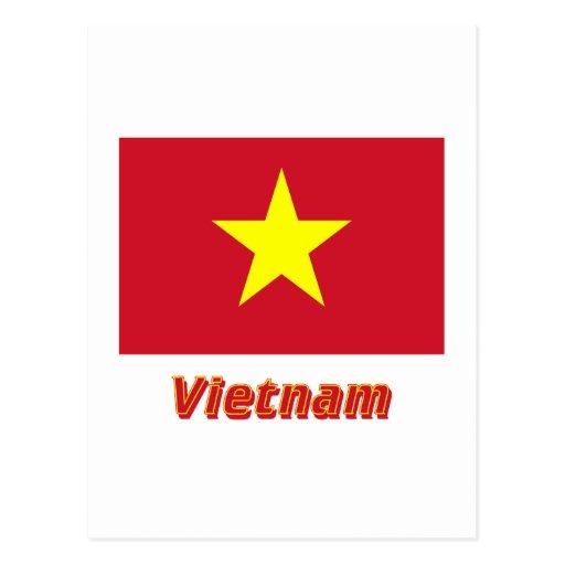 Bandera de Vietnam con nombre Tarjetas Postales