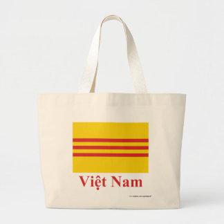 Bandera de Vietnam del sur con nombre en vietnamit Bolsas Lienzo