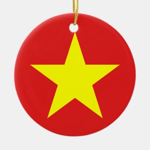 Bandera de Vietnam - ornamento Ornamento De Navidad