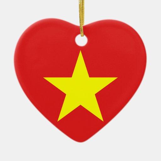Bandera de Vietnam - ornamento del corazón Adorno De Reyes