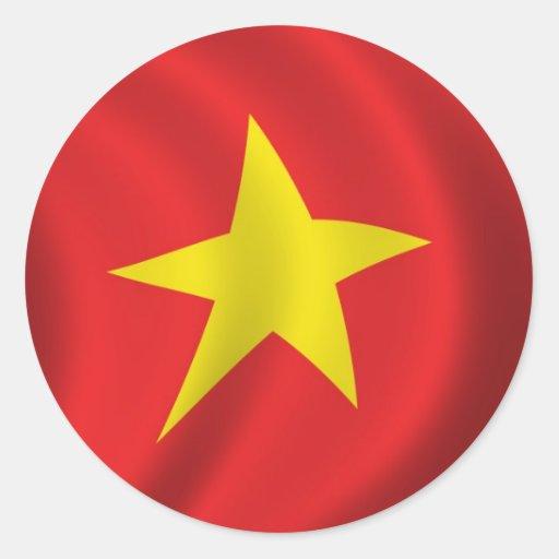 Bandera de Vietnam Pegatina Redonda