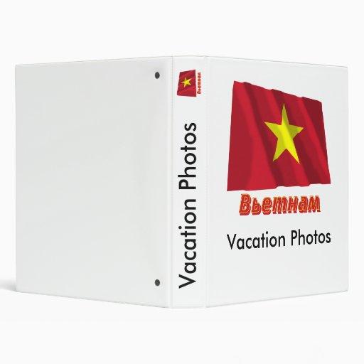Bandera de Vietnam que agita con nombre en ruso