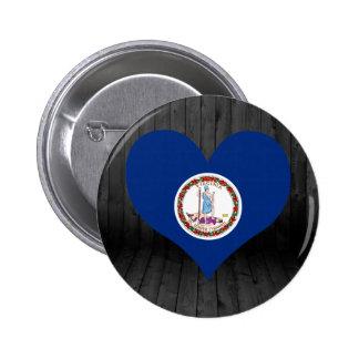Bandera de Virginia coloreada Pin Redondo 5 Cm