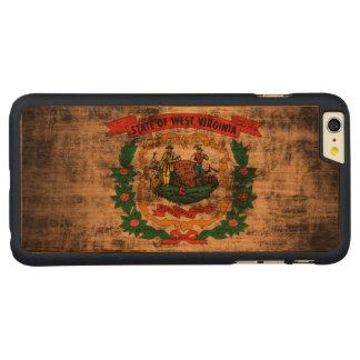 Bandera de Virginia Occidental del Grunge del Funda De Cerezo Carved® Para iPhone 6 Plus Slim