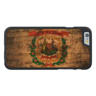 Bandera de Virginia Occidental del Grunge del Funda De iPhone 6 Carved® De Cerezo
