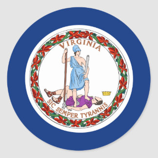 Bandera de Virginia Etiquetas Redondas