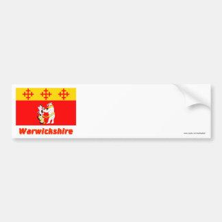 Bandera de Warwickshire con nombre Etiqueta De Parachoque