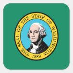 Bandera de Washington Calcomania Cuadrada Personalizada