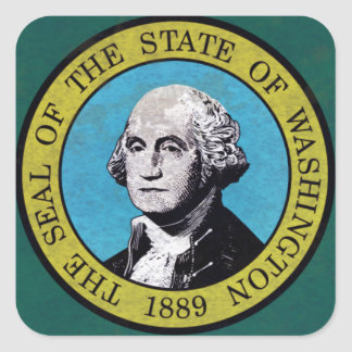 Bandera de Washington Pegatinas Cuadradases Personalizadas