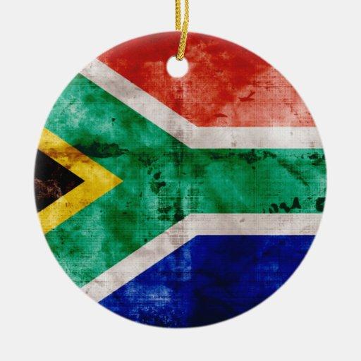 Bandera de Weatherd Suráfrica Adorno Redondo De Cerámica