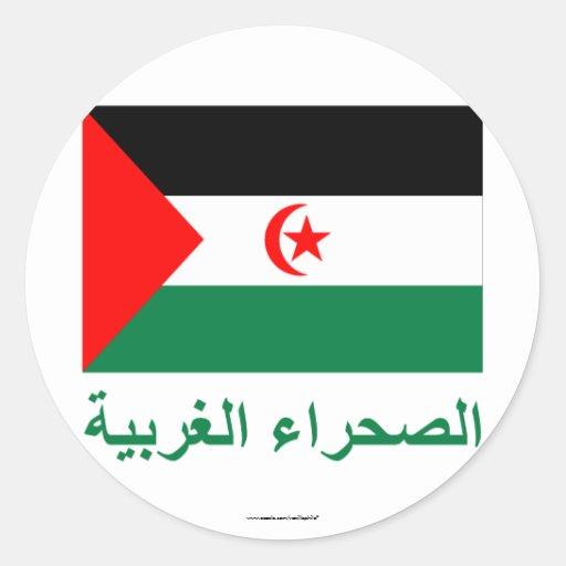 Bandera de Western Sahara con nombre en árabe Etiquetas Redondas