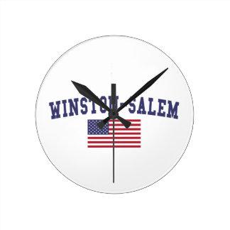 Bandera de Winston-Salem los E.E.U.U. Reloj Redondo Mediano