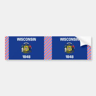 Bandera de Wisconsin Pegatina De Parachoque