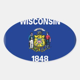 Bandera de Wisconsin Pegatina Ovalada