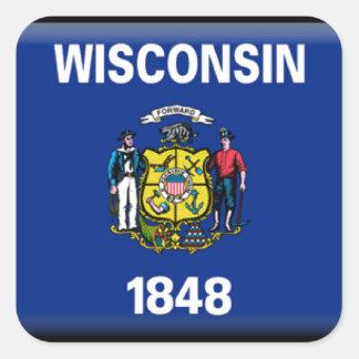 Bandera de Wisconsin Pegatina Cuadrada