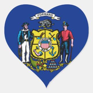 Bandera de Wisconsin Pegatina En Forma De Corazón