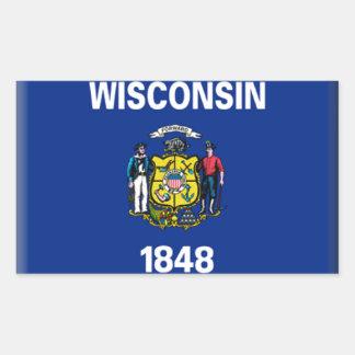 Bandera de Wisconsin Pegatina Rectangular