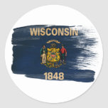 Bandera de Wisconsin Pegatina Redonda