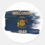 Bandera de Wisconsin Pegatinas Redondas