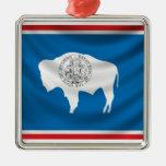Bandera de Wyoming Adorno Navideño Cuadrado De Metal