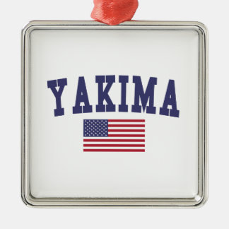 Bandera de Yakima los E.E.U.U. Adorno Navideño Cuadrado De Metal