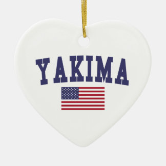 Bandera de Yakima los E.E.U.U. Adorno Navideño De Cerámica En Forma De Corazón