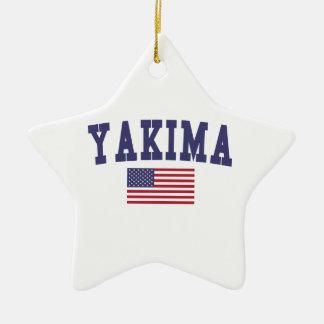 Bandera de Yakima los E.E.U.U. Adorno Navideño De Cerámica En Forma De Estrella