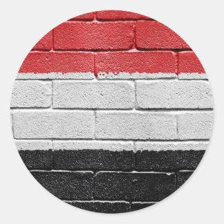 Bandera de Yemen Pegatina Redonda