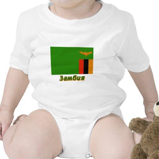 Bandera de Zambia con nombre en ruso Trajes De Bebé