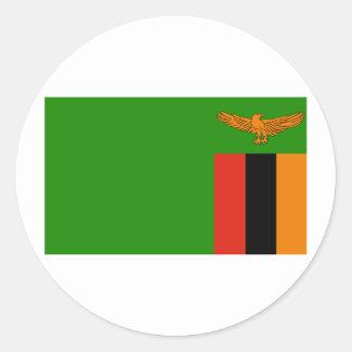 Bandera de Zambia Etiqueta Redonda