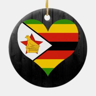 Bandera de Zimbabwe coloreada Adorno Navideño Redondo De Cerámica