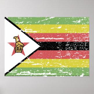 Bandera de Zimbabwe del vintage Póster