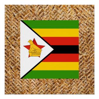 Bandera de Zimbabwe en la materia textil temática Perfect Poster