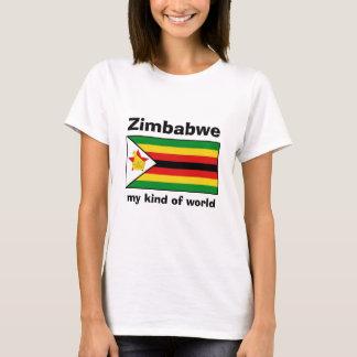 Bandera de Zimbabwe + Mapa + Camiseta del texto