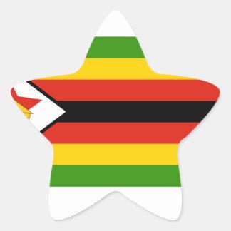 Bandera de Zimbabwe Pegatina En Forma De Estrella