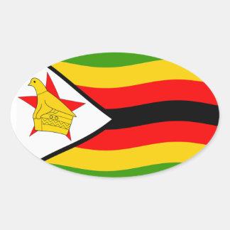Bandera de Zimbabwe Pegatina Ovalada