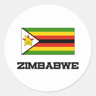Bandera de Zimbabwe Pegatina Redonda