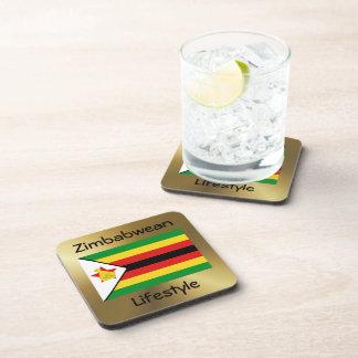 Bandera de Zimbabwe+Práctico de costa del texto Apoyavasos