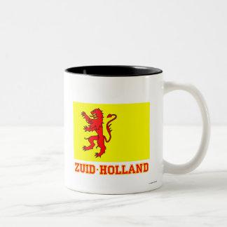 Bandera de Zuid-Holland con nombre Taza De Dos Tonos