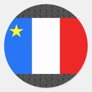 Bandera del Acadia de Canadá Pegatina Redonda