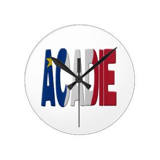 Bandera del Acadia Reloj Redondo Mediano