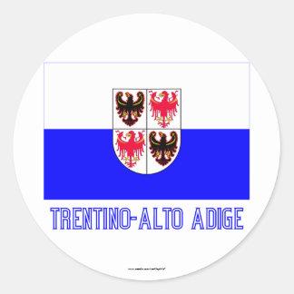 Bandera del Adigio del Trentino-Alto con nombre Pegatina Redonda