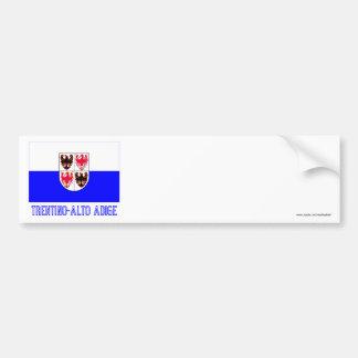 Bandera del Adigio del Trentino-Alto con nombre Pegatina Para Auto