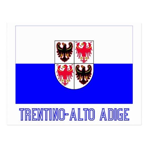 Bandera del Adigio del Trentino-Alto con nombre Tarjeta Postal